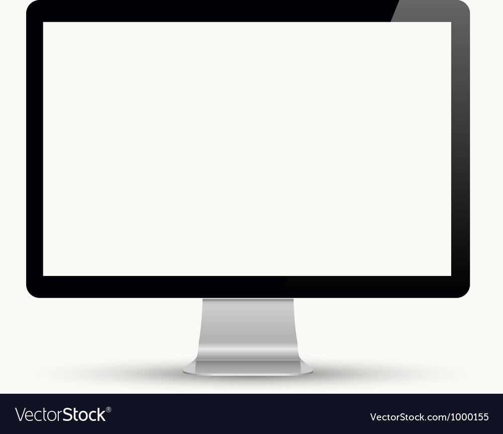 Computer display isolated on white vector | Price: 1 Credit (USD $1)