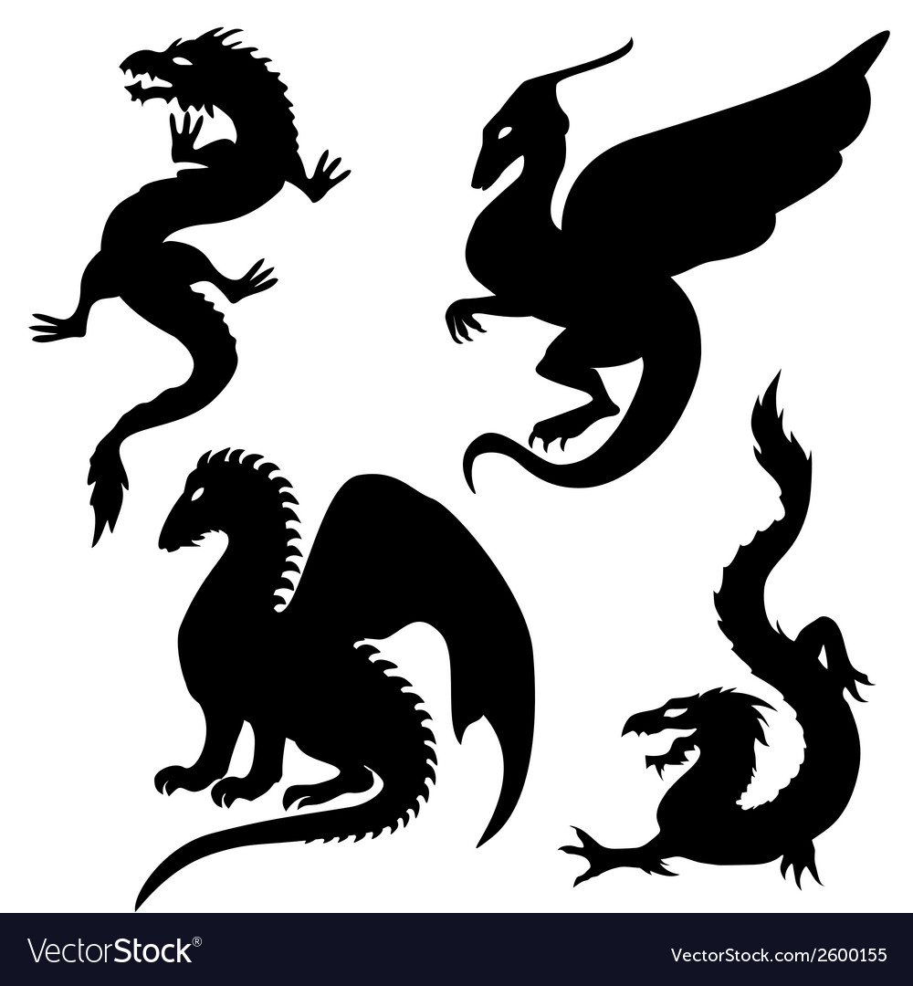 Dragon silhouettes set vector | Price: 1 Credit (USD $1)