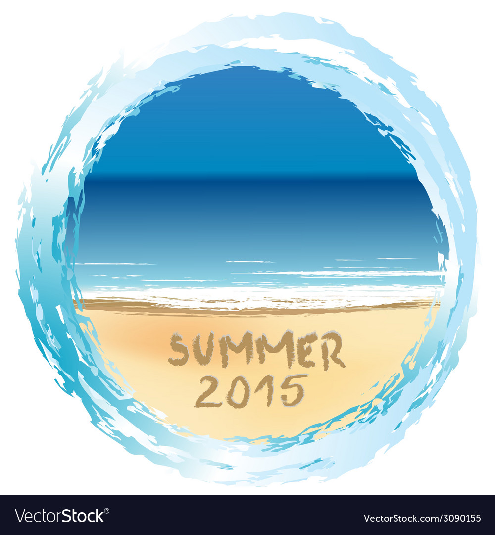 Holiday card with summer 2015 written on sandy vector | Price: 1 Credit (USD $1)