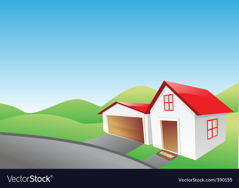 House and garage vector | Price: 1 Credit (USD $1)