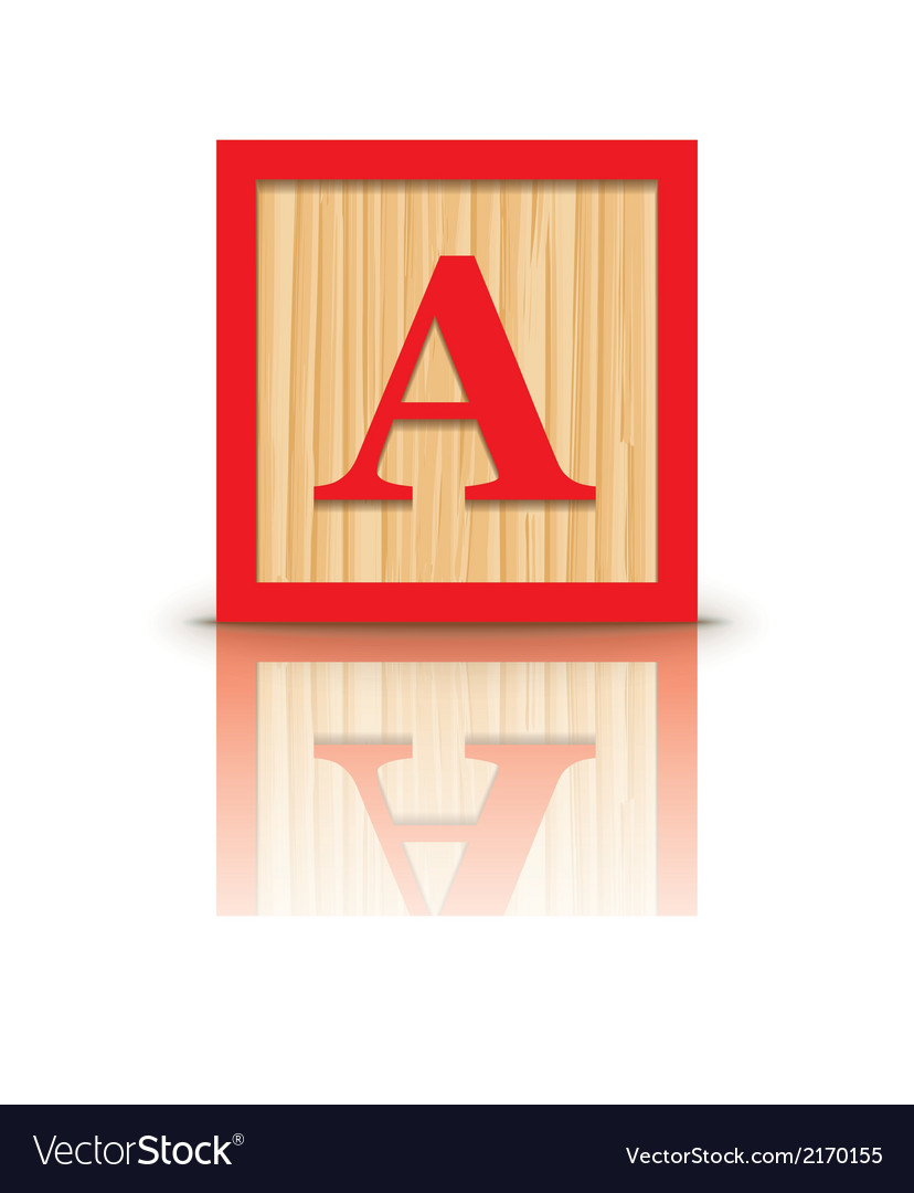 Letter a wooden alphabet block vector | Price: 1 Credit (USD $1)