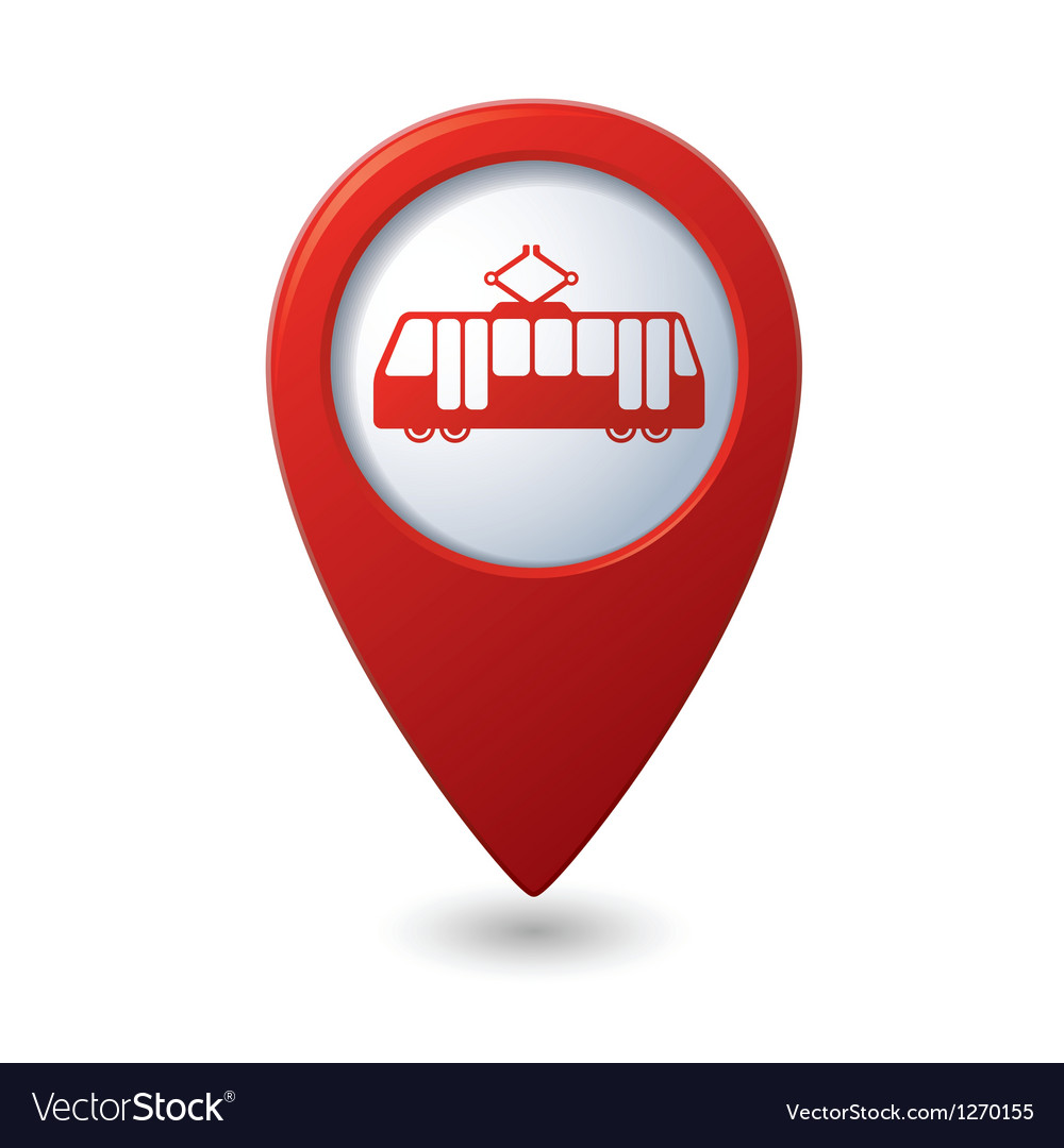 Map pointer with tram icon vector | Price: 1 Credit (USD $1)