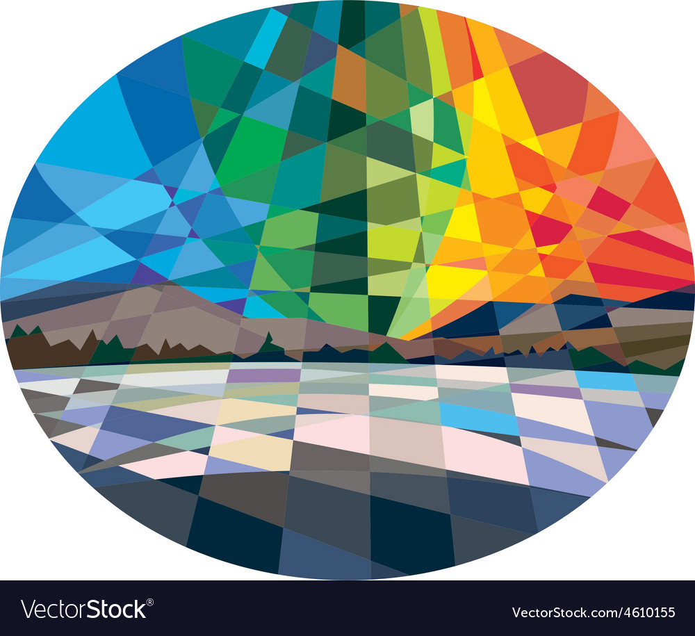 Northern lights aurora borealis low polygon vector | Price: 1 Credit (USD $1)