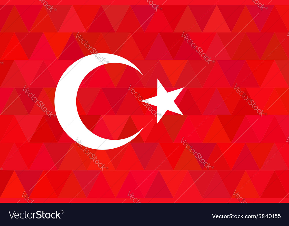 Turkey flag on unusual red triangles background vector | Price: 1 Credit (USD $1)