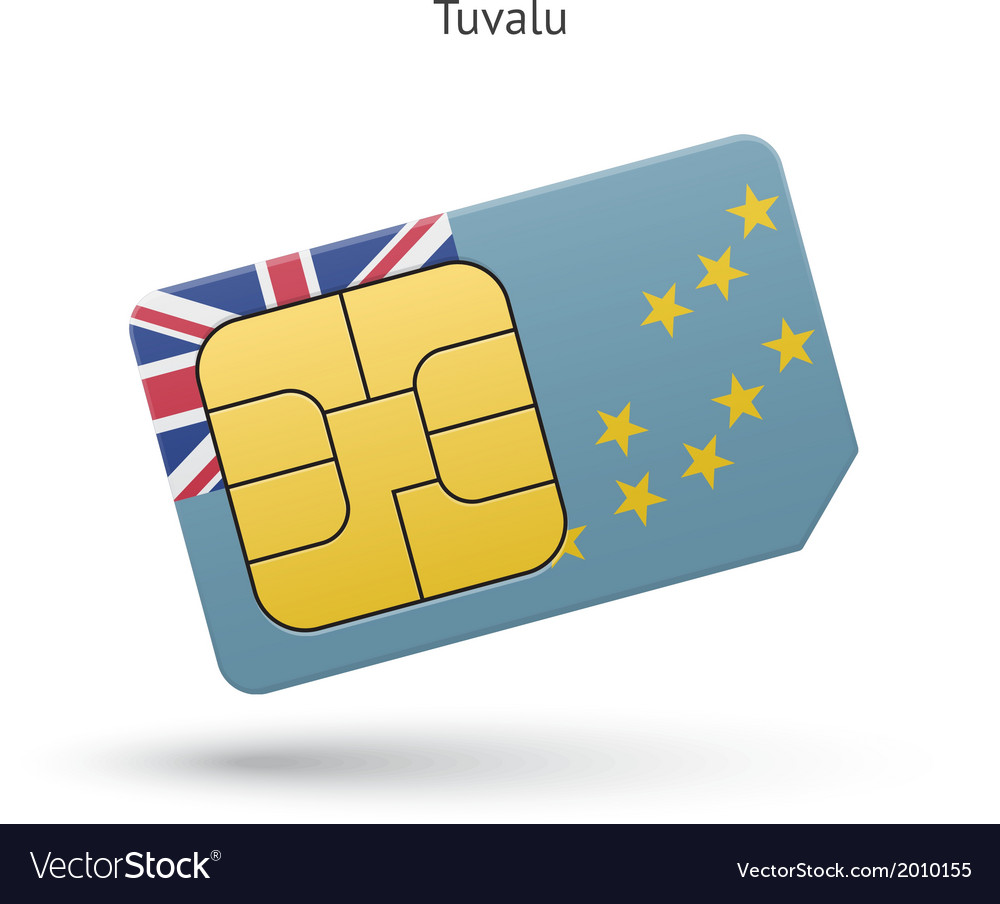 Tuvalu mobile phone sim card with flag vector | Price: 1 Credit (USD $1)