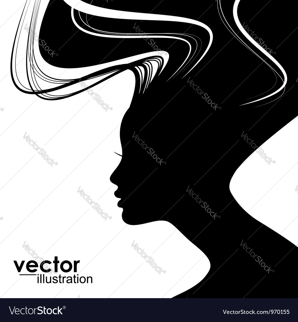 Woman face silhouette vector | Price: 1 Credit (USD $1)