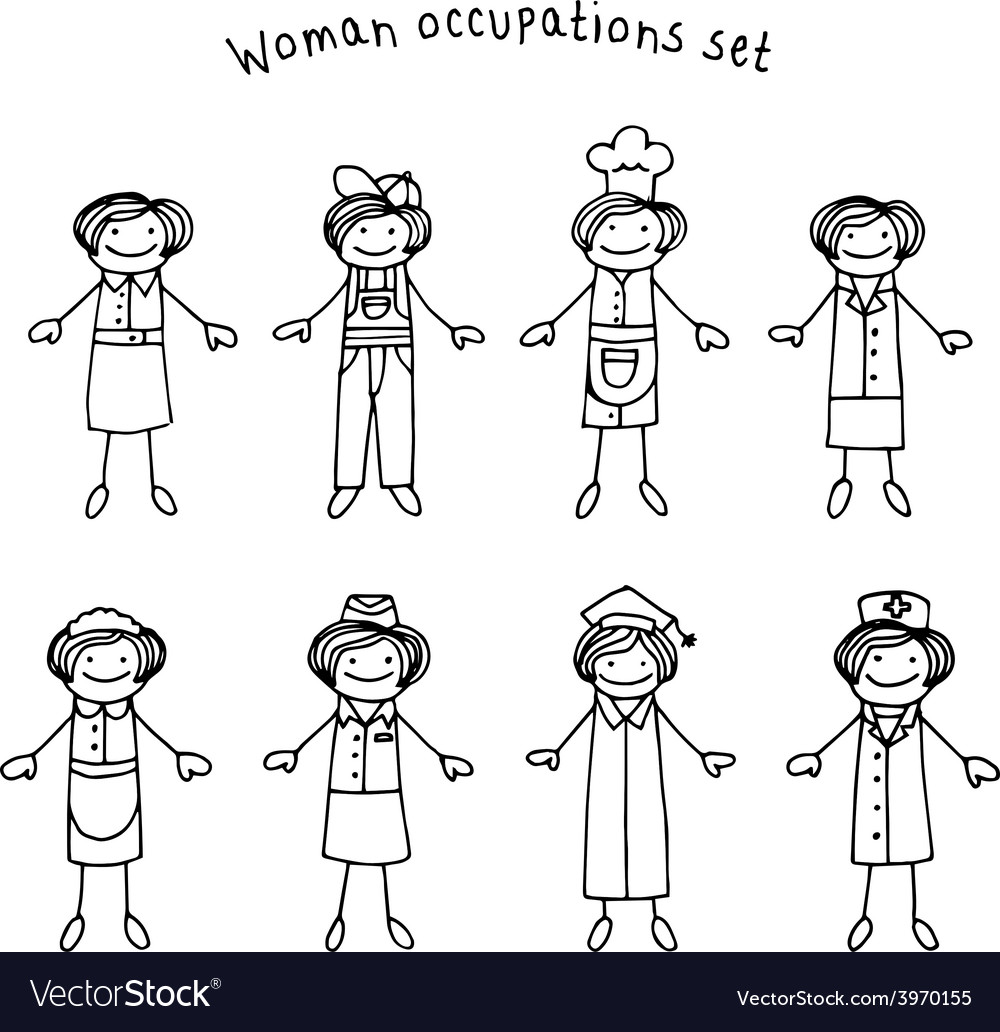 Woman occupations set vector | Price: 1 Credit (USD $1)
