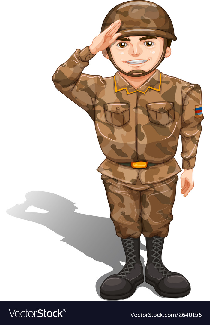 A soldier demonstrating a hand salute vector | Price: 1 Credit (USD $1)