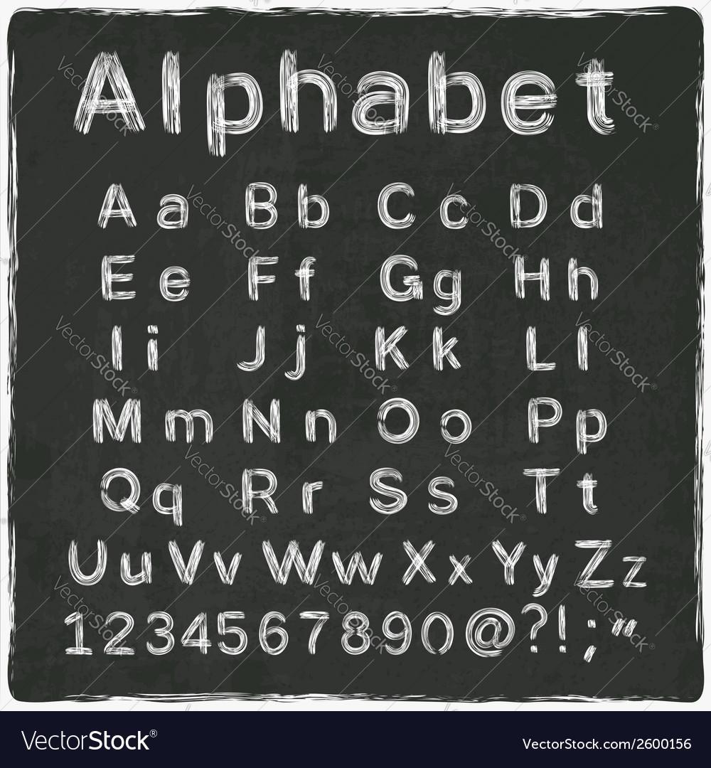 Alphabet old black board vector | Price: 1 Credit (USD $1)