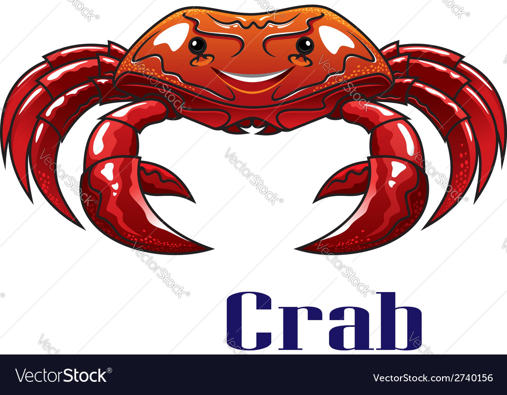 Cartoon red crab with big claws vector | Price: 1 Credit (USD $1)