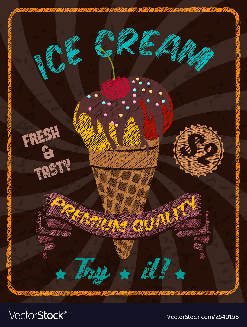 Chocolate ice-cream with cherry on poster vector   Price: 1 Credit (USD $1)
