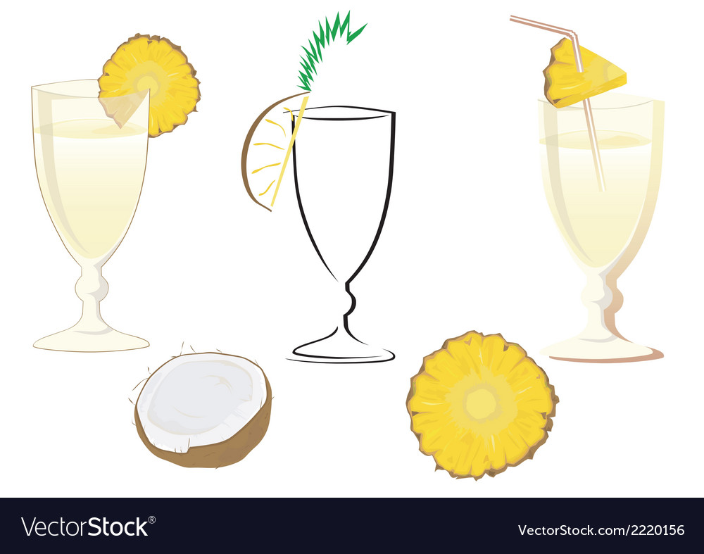 Cocktail glass with ananas and coconut vector | Price: 1 Credit (USD $1)