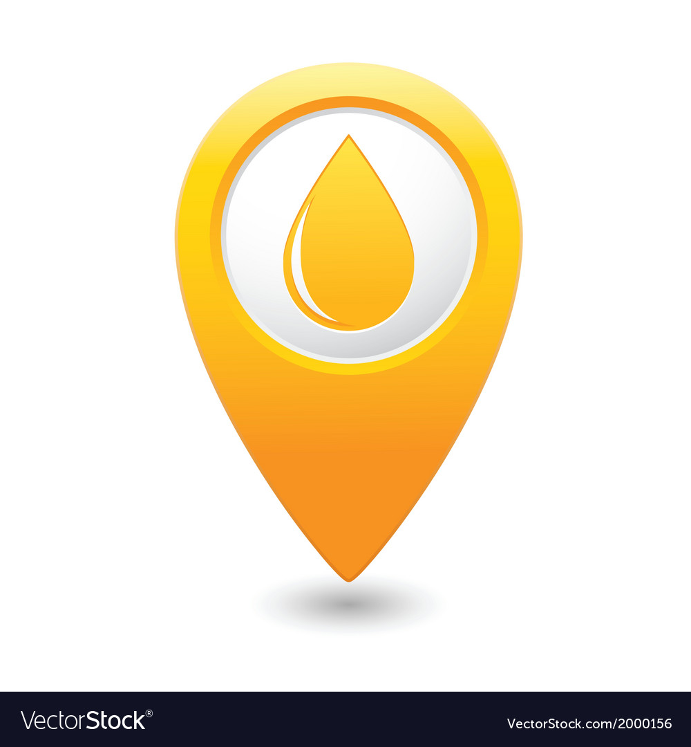 Drop icon yellow map pointer vector