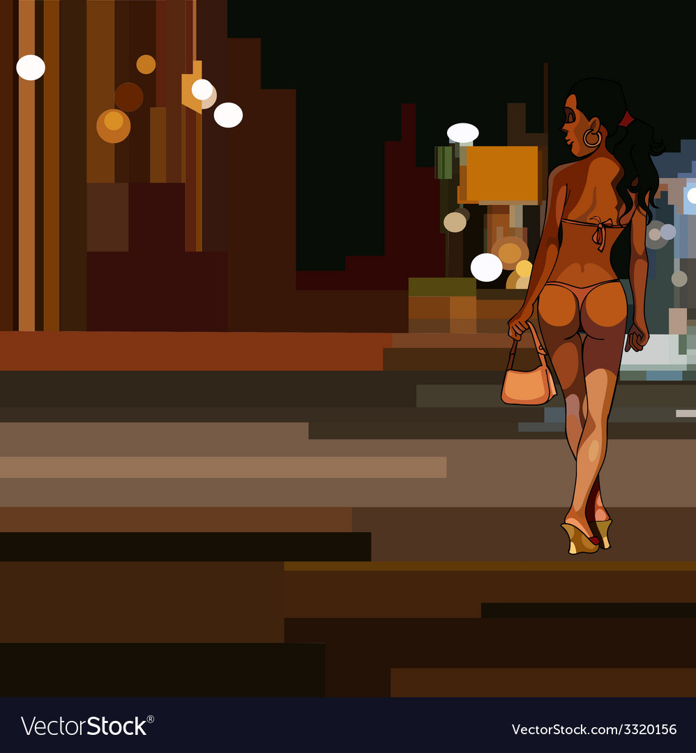 Girl in swimsuit walking on the abstract night vector | Price: 3 Credit (USD $3)