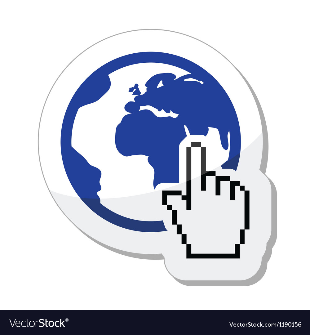 Globe earth with cursor hand icon vector | Price: 1 Credit (USD $1)