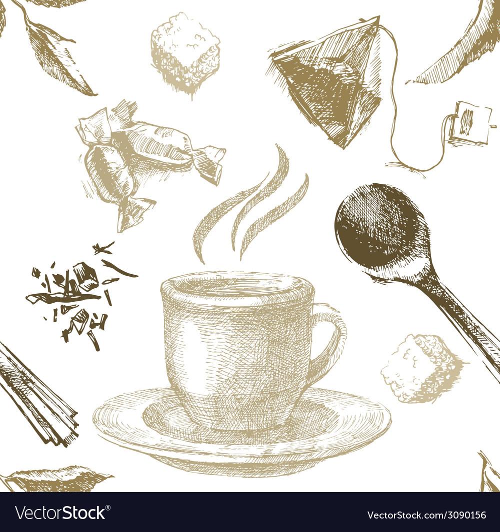 Hand drawn tea seamless vector | Price: 1 Credit (USD $1)