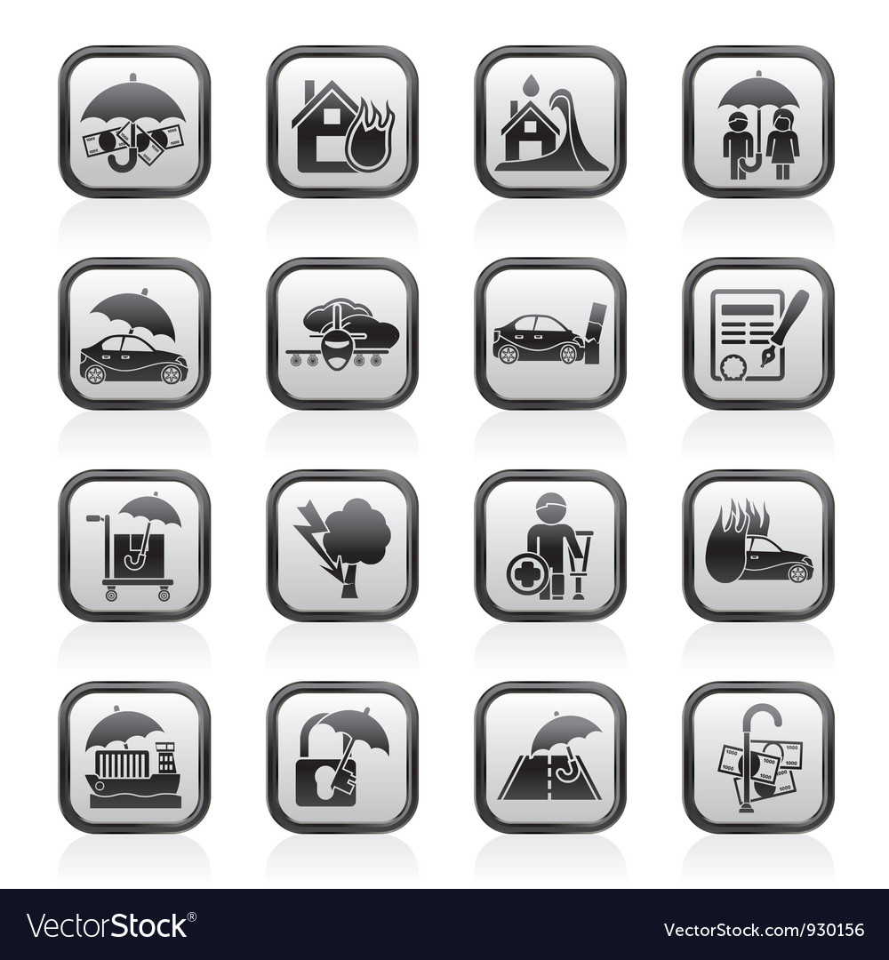 Insurance and risk icons vector | Price: 1 Credit (USD $1)