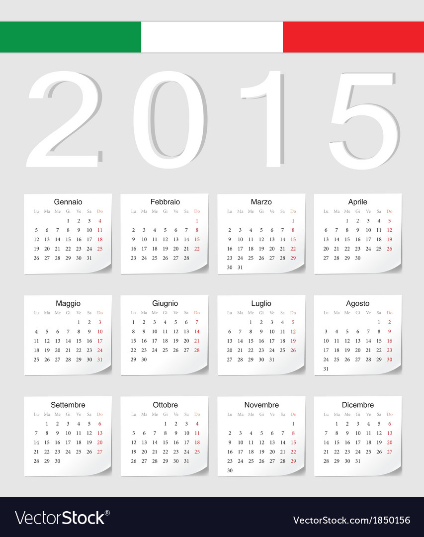 Italian 2015 calendar with stickers vector | Price: 1 Credit (USD $1)