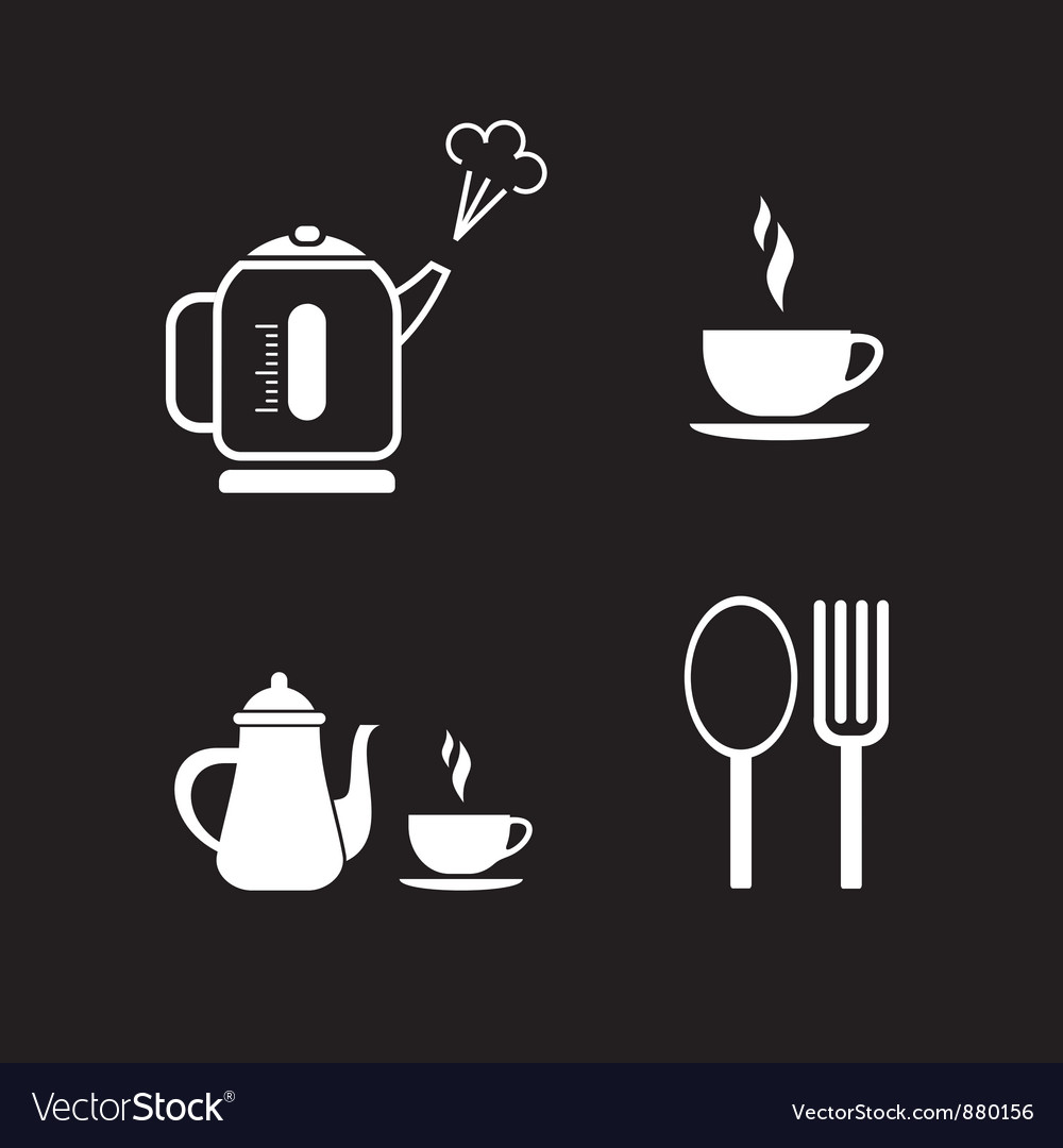 Lunch icons on black vector | Price: 1 Credit (USD $1)