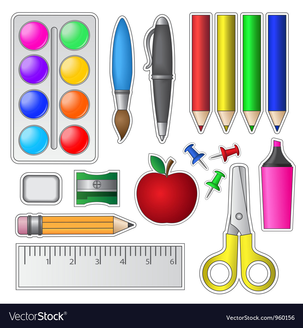 Set of school tools and supplies vector | Price: 1 Credit (USD $1)