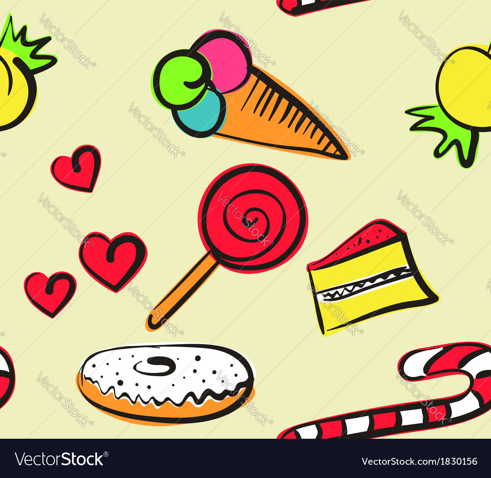 Sweets seamless doodle vector
