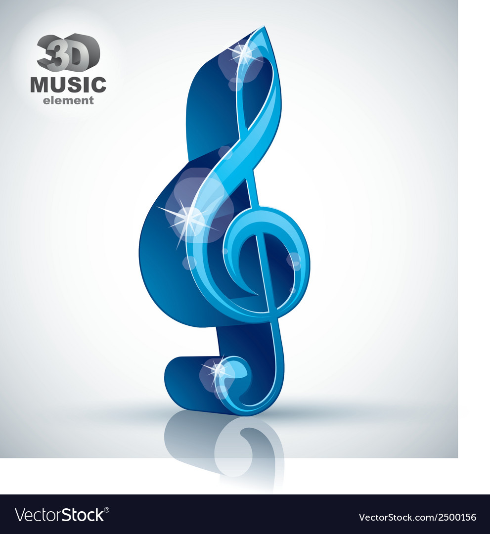 Treble clef 3d blue music design element vector | Price: 1 Credit (USD $1)