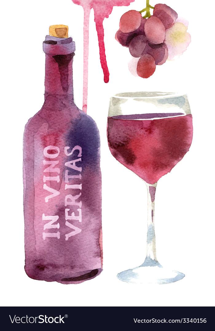Watercolor wine set vector | Price: 1 Credit (USD $1)