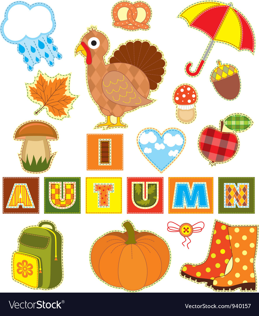 Autumn set textile element vector | Price: 1 Credit (USD $1)