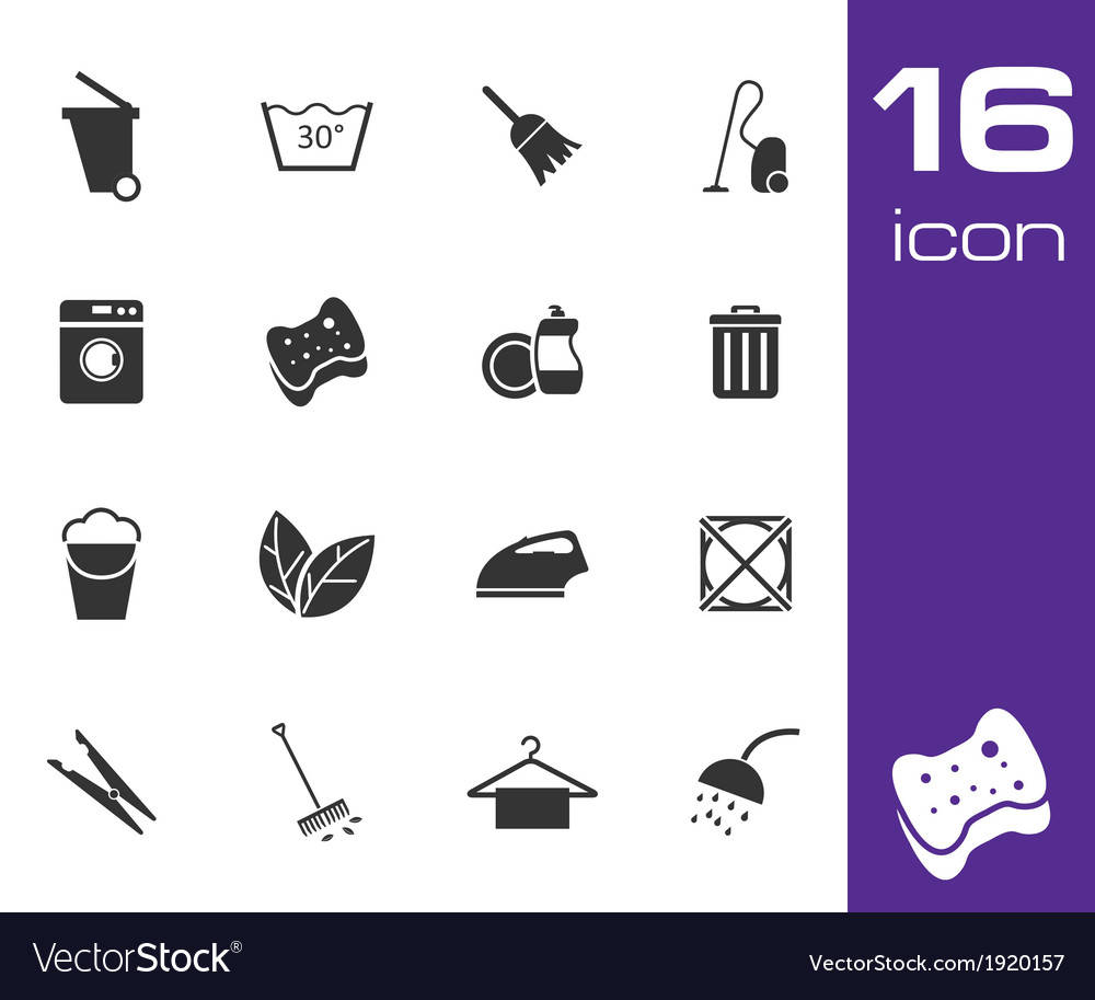 Black cleaning icons set on white background vector | Price: 1 Credit (USD $1)