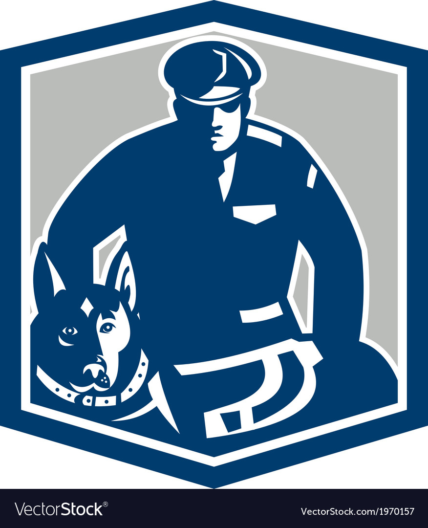 Canine policeman with police dog retro vector | Price: 1 Credit (USD $1)