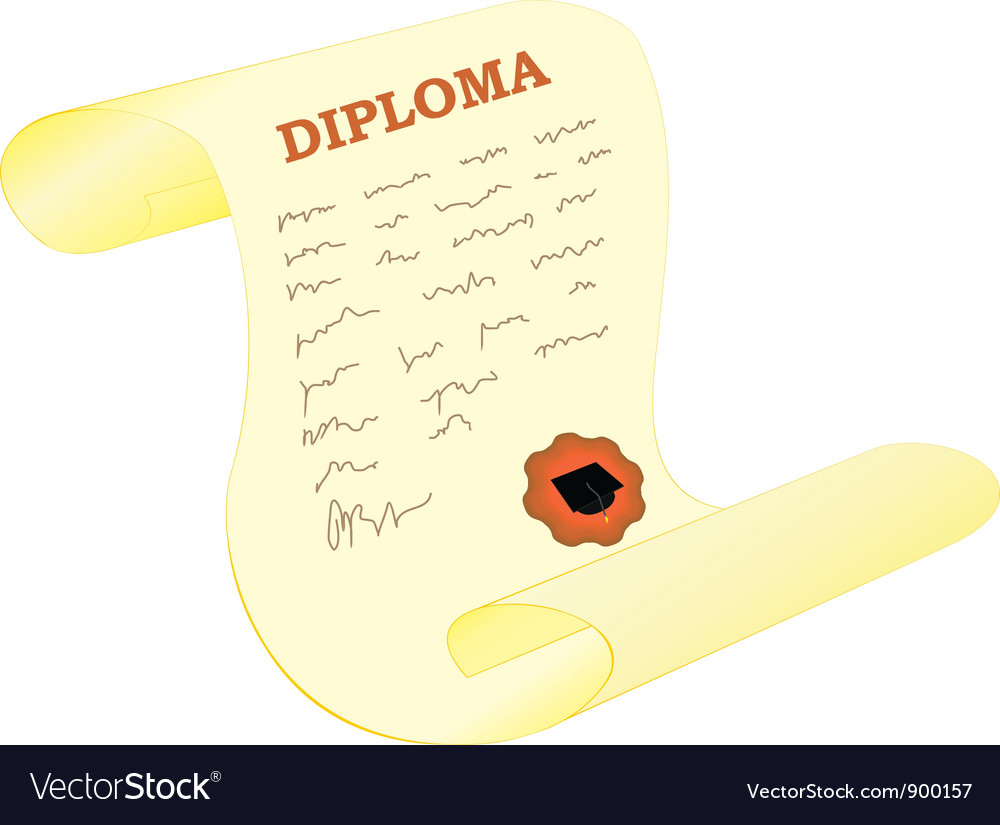 Diploma with seal vector | Price: 1 Credit (USD $1)