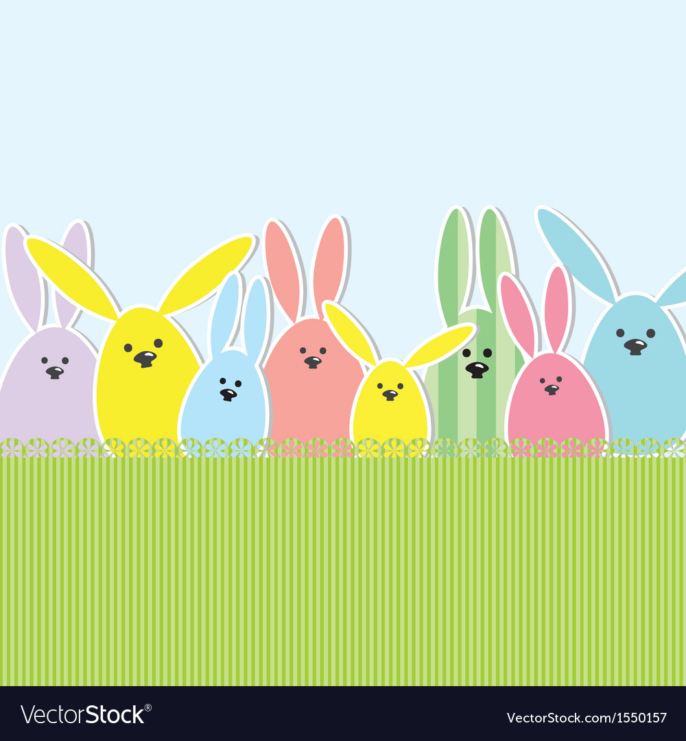 Easter bunnies greeting card vector | Price: 1 Credit (USD $1)