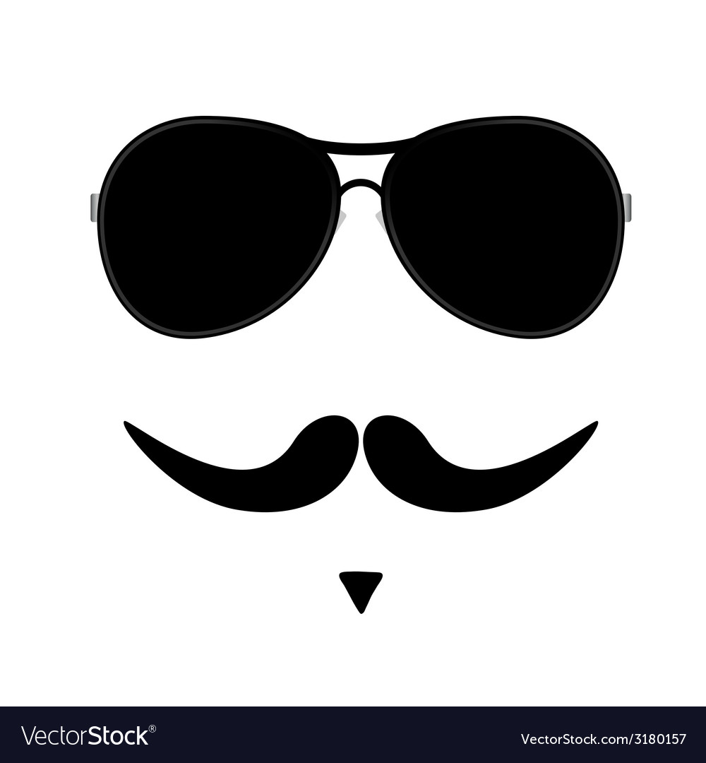Face with mustache two vector | Price: 1 Credit (USD $1)