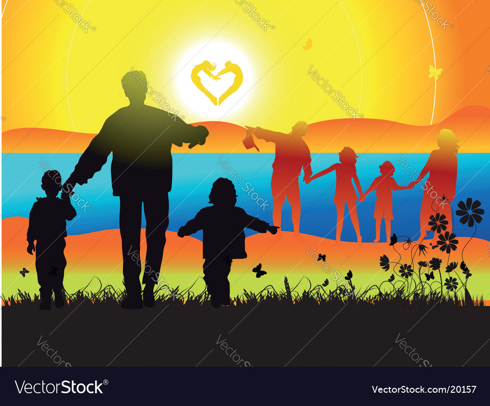 Family and landscape vector | Price: 1 Credit (USD $1)