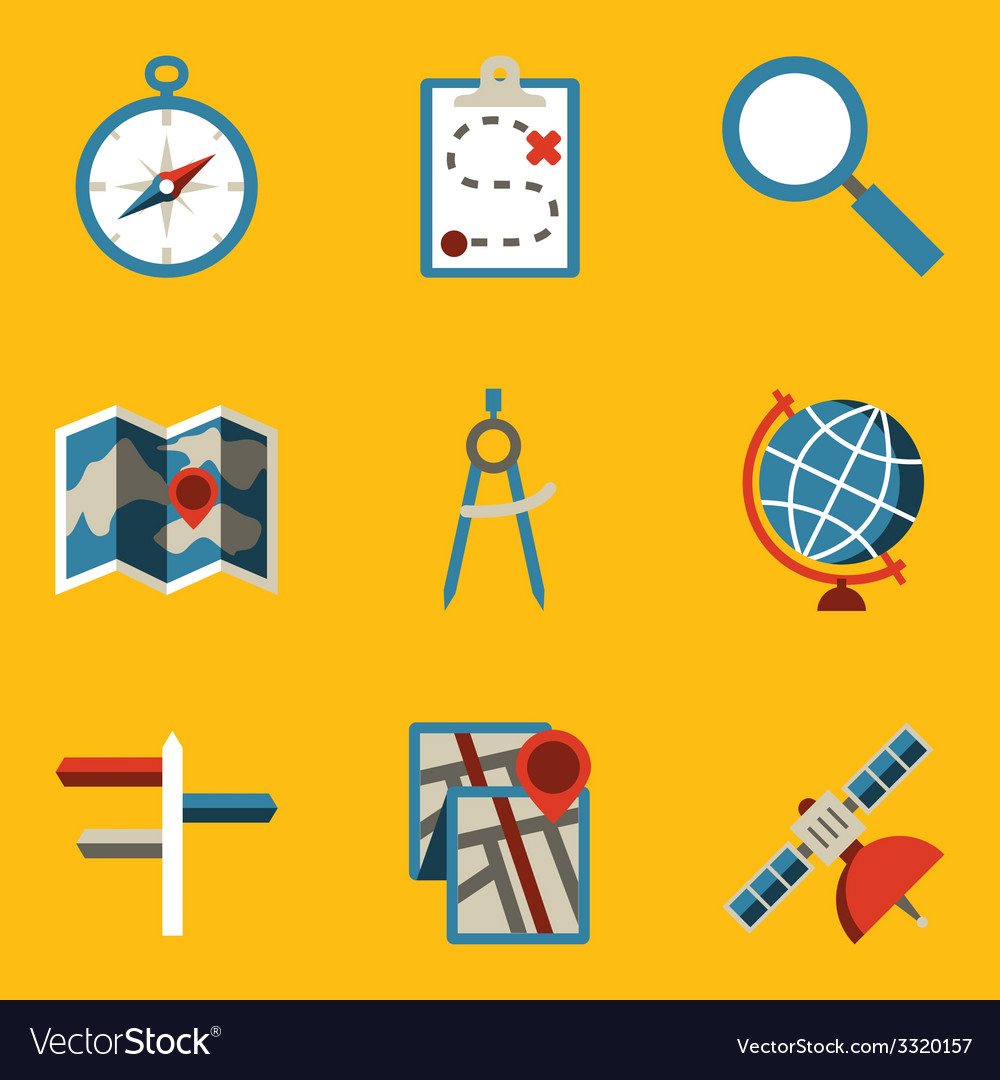 Flat icon set navigation vector | Price: 1 Credit (USD $1)