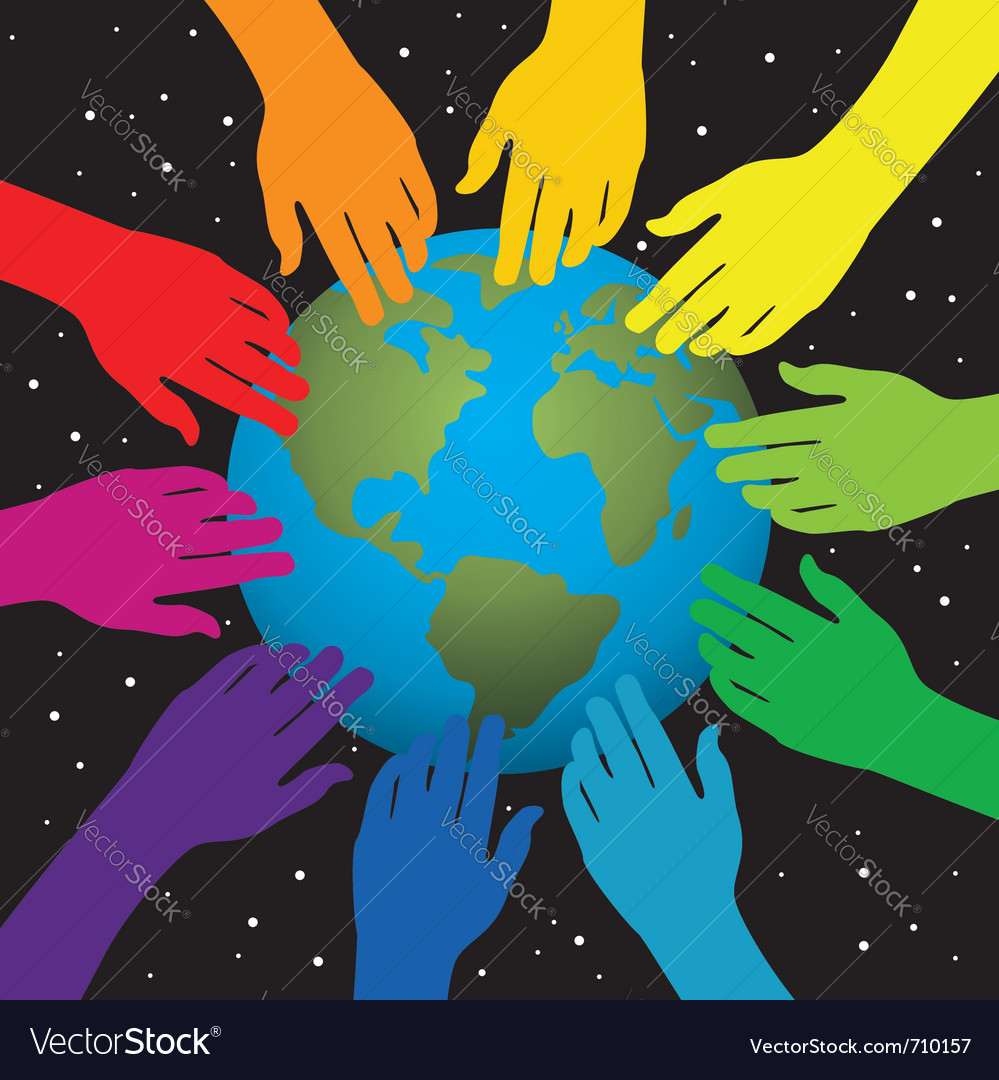 Hands touching earth vector | Price: 1 Credit (USD $1)