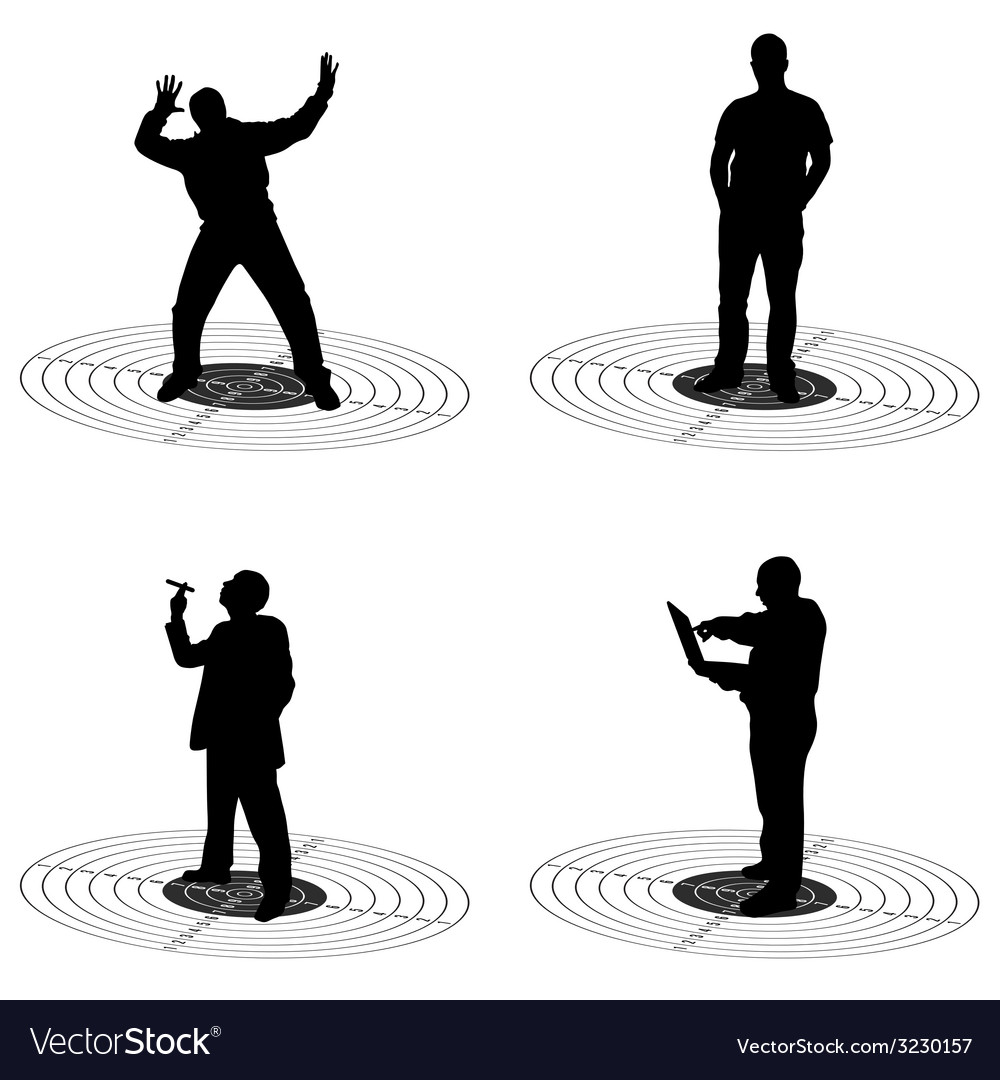Man standing on target silhouette vector | Price: 1 Credit (USD $1)