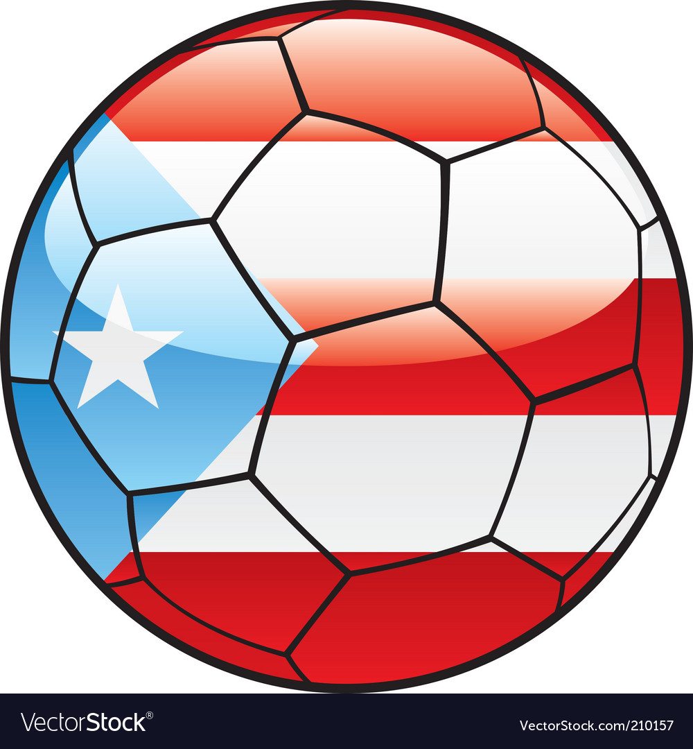 Porto rico flag on soccer ball vector | Price: 1 Credit (USD $1)