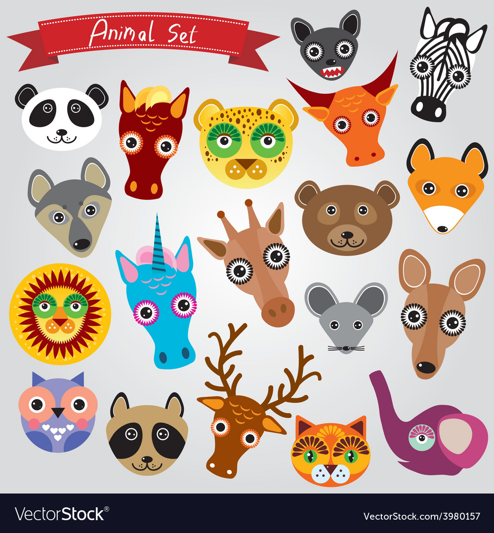 Set of funny animals muzzle vector | Price: 1 Credit (USD $1)