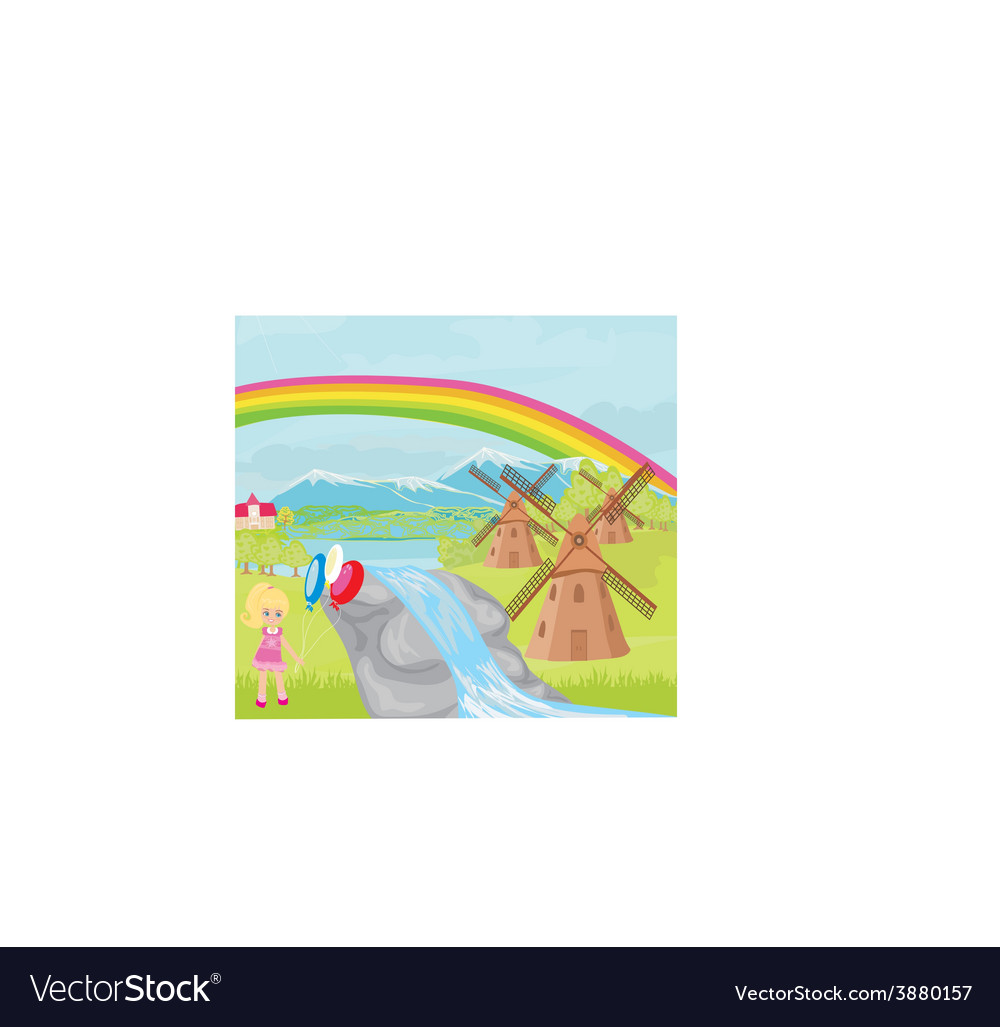 Spring landscape with windmills and a little girl vector   Price: 1 Credit (USD $1)