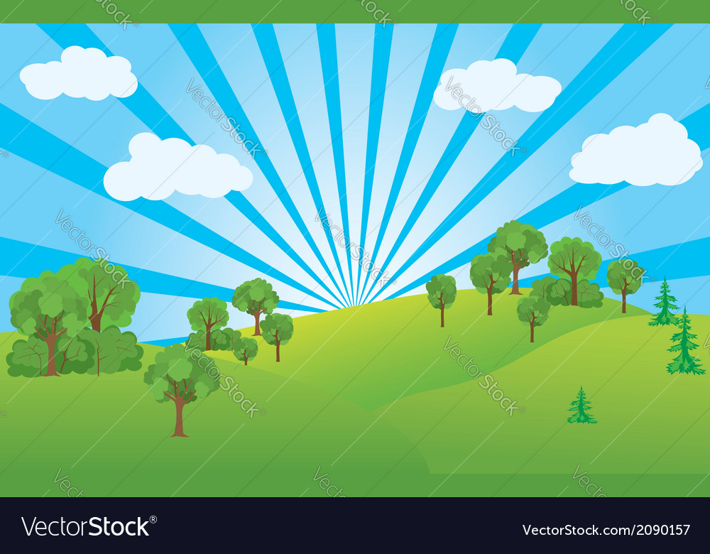 Summer landscape with green nature vector | Price: 1 Credit (USD $1)