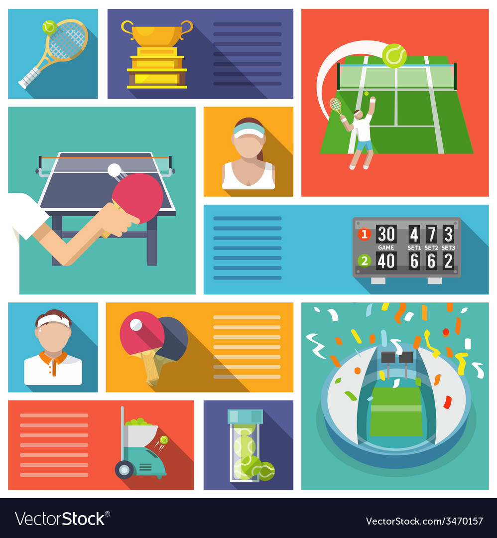 Tennis icons flat vector | Price: 1 Credit (USD $1)