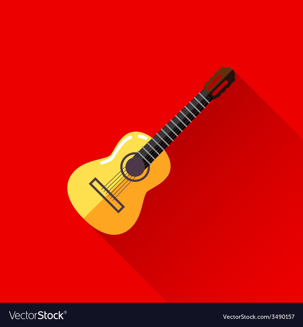 With guitar in flat style design with long shadow vector | Price: 1 Credit (USD $1)