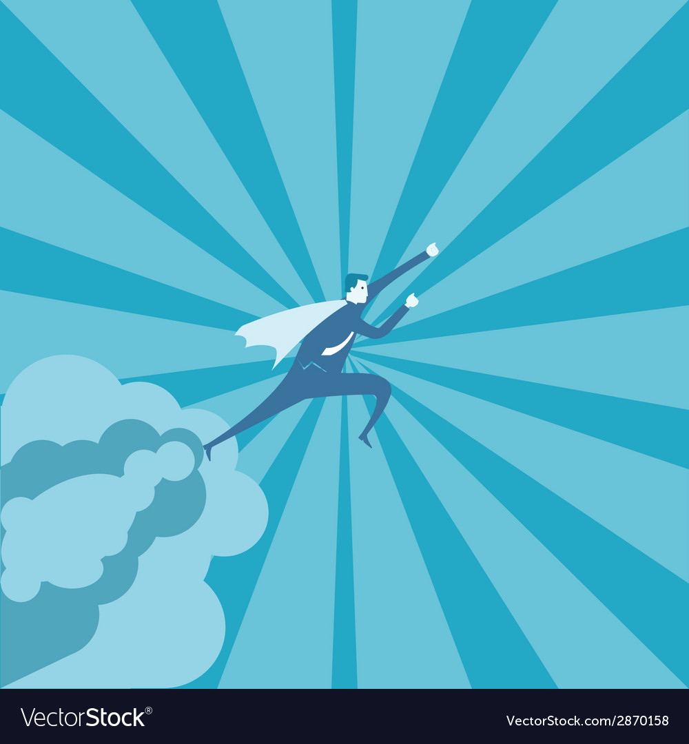 Business man fly on the sky vector | Price: 1 Credit (USD $1)