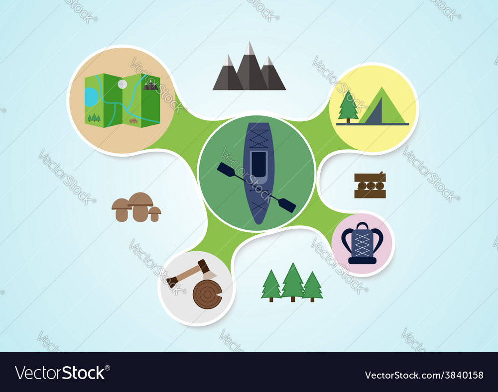 Camping and kayak graphic in round style outdoor vector | Price: 1 Credit (USD $1)