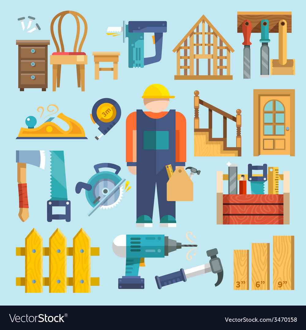 Carpentry icon flat vector | Price: 1 Credit (USD $1)