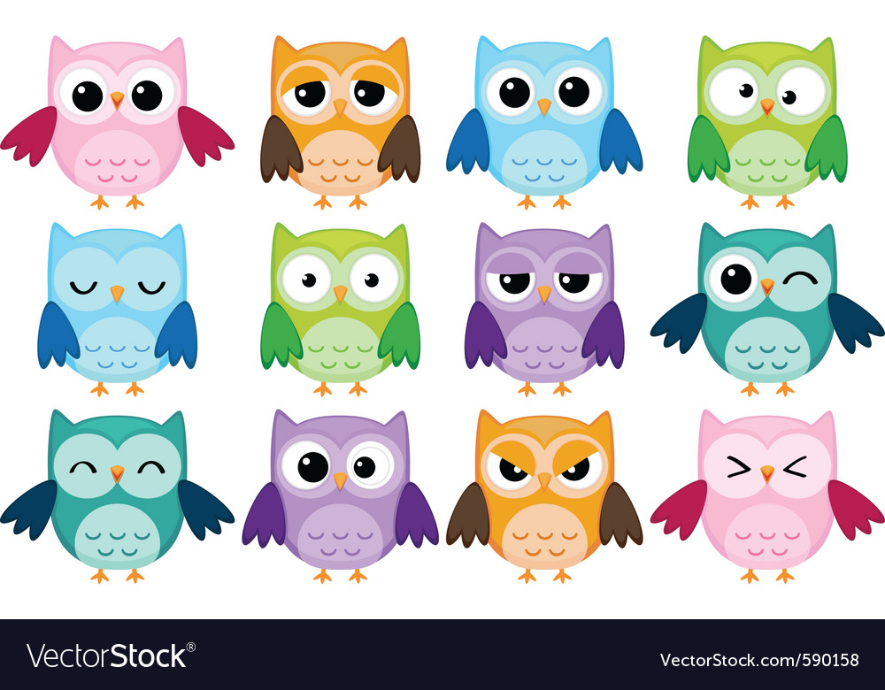 Cartoon owls vector | Price: 1 Credit (USD $1)