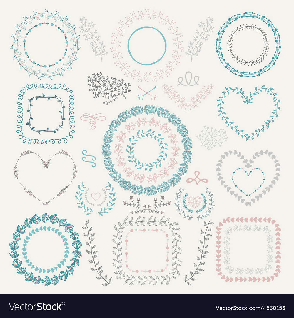 Colorful hand drawn floral frames wreaths vector   Price: 1 Credit (USD $1)