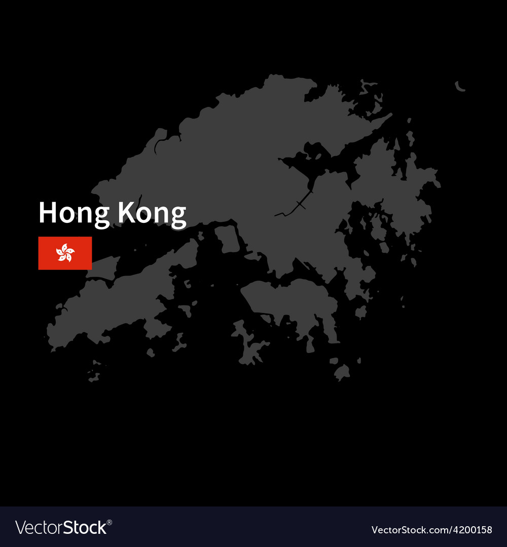 Detailed map of hong kong with flag on black vector | Price: 1 Credit (USD $1)