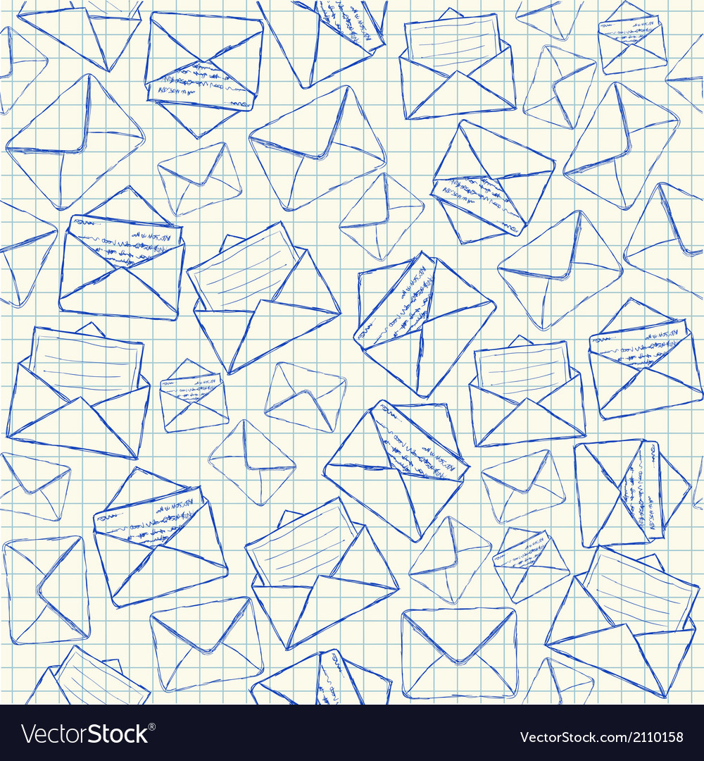 Envelope doodles seamless pattern vector | Price: 1 Credit (USD $1)